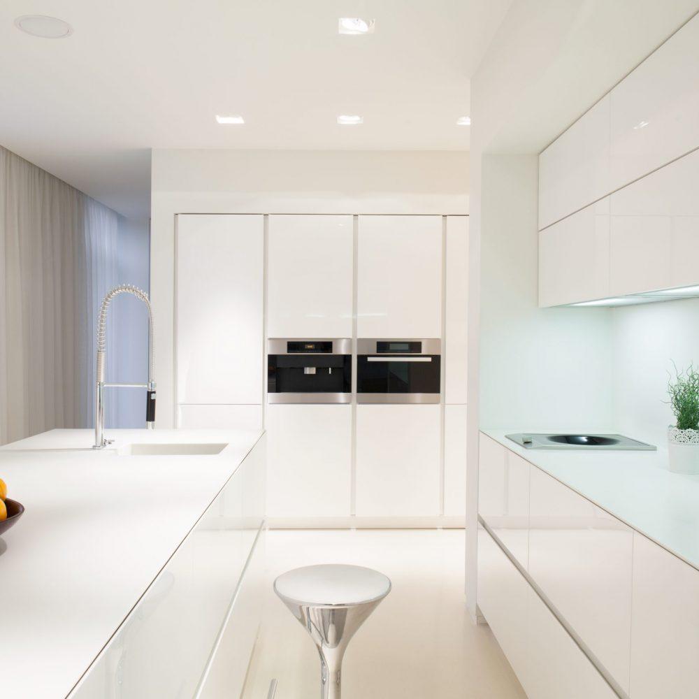 Horizontal view of exclusive white kitchen interior